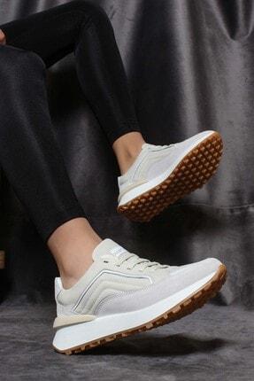 Fast Step Hakiki Deri Krem Beyaz Kadın Sneaker Ayakkabı 009za917