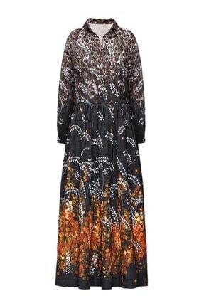 Faberlic Kadın Siyah ve Gri Desenli Uzun Elbise 44 Beden
