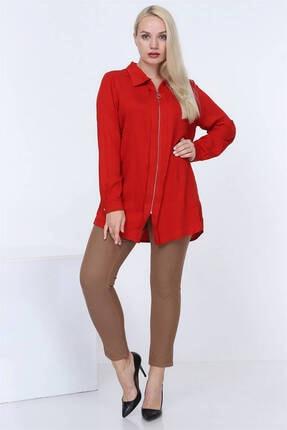Günay Kadın Gömlek Rg6895 Mevsimlik Ceket Tip Fermuar Kapama-nar Çiçeği