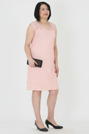 Günay Kadın Abiye Elbise Lm74340 Kısa-pudra