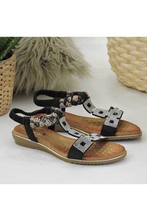 Guja Kadın Siyah Taşlı Düz Taban Sandalet