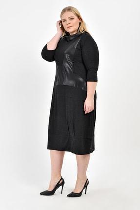 Big Free Bayan Deri Boğazlı Yırtmaçlı Yaka Parçalı Maxi Elbise