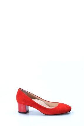 Fast Step Hakiki Deri Kırmızı Süet Kadın Kısa Topuklu Ayakkabı 064za970