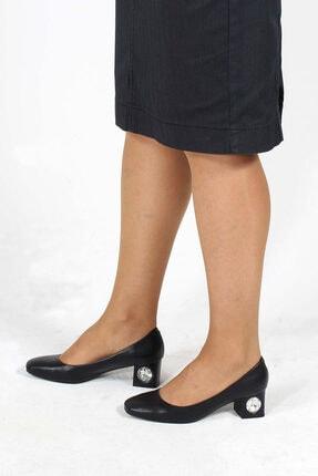 Fast Step Hakiki Deri Siyah Kadın Kısa Topuklu Ayakkabı 064za975