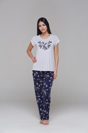 PJS PİJAMA 21539 Kadın Kısa Kollu Çiçek Baskılı Pantolon Takım