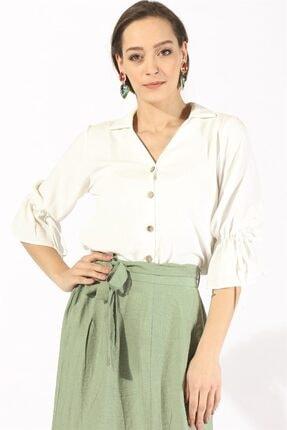 Twister Jeans Kadın Bluz Bayan Kol Bağlamalı Bluz 19731 Beyaz