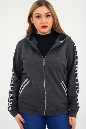 Günay Kadın Ceket Lm45010 Mevsimlik Kapüşon Payet Detay Swea-antrasit