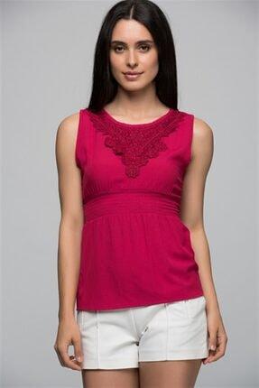 Cotton Mood 7250743 Şile Bezi Yaka Önü V Güpürlü Beli Gipeli Kolsuz Bluz Fusya