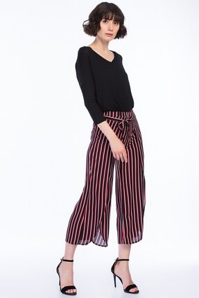 Cotton Mood 8231222 Viskon Dokuma Bağlamalı Pantolon Sıyah Kırmızı Çızgılı