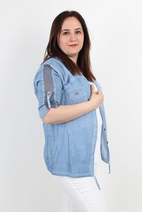 Günay Kadın Ceket Mnsrb0093 Ilkbahar Yaz Kapüşon File Detay-mavi