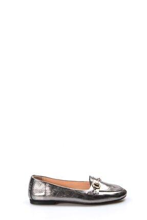 Fast Step Hakiki Deri Çelik Kristal Kadın Babet Ayakkabı 064za3003