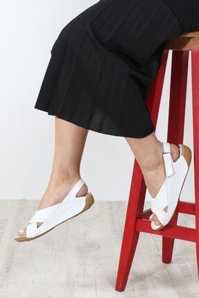 Fast Step Hakiki Deri Beyaz Kadın Klasik Sandalet 864za610