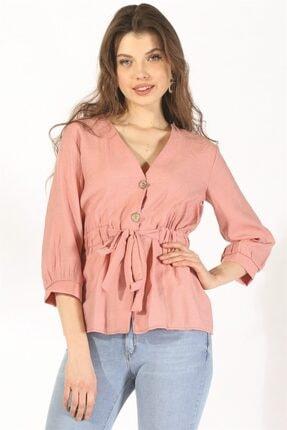 Twister Jeans Kadın Bluz Bayan Düğmeli Belden Bağlama Bluz 19078 Pudra
