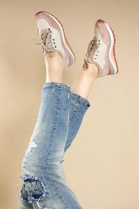 Fast Step Hakiki Deri Pudra Pembe Kadın Sneaker Ayakkabı 009za653