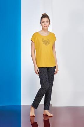 PJS PİJAMA Baskılı Empirme Desenli Bayan Pantolon 2 Li Takım 20717