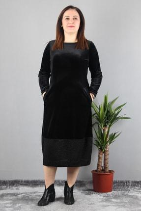 Günay Kadın Elbise Lm44031 Sonbahar Kış O Yaka Cep Kadife-sıyah