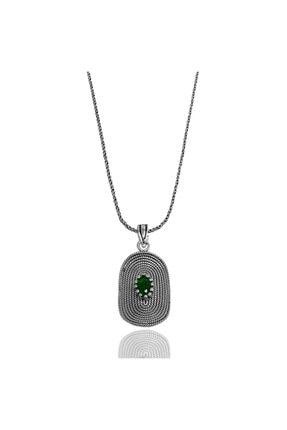 Midyat Gümüş Dünyası Yeşil Taşlı Telkari Gümüş Bayan Kolye (Kod: 2020732c)