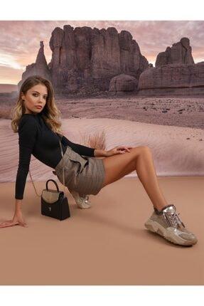İlvi Fuks Hakiki Deri Kadın Bej Alın Spor Ayakkabı