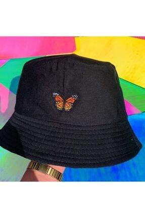 Köstebek Turuncu Butterfly - Kelebek Bucket Şapka