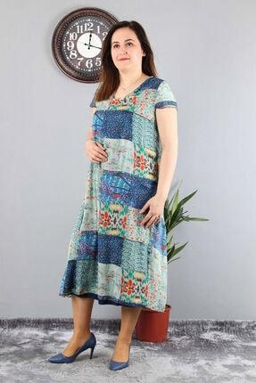 Günay Kadın Elbise Lm14245 Ilkbahar Yaz V Yaka Şifon Desenli-lacivert