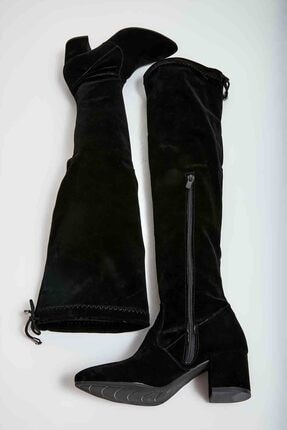 Bambi Siyah Süet Kadın Çizme M0527000172