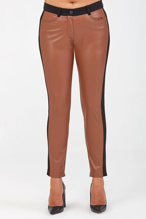 Günay Kadın Pantolon Lm52042 Deri Normal Bel Arka Cep-taba
