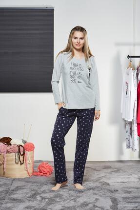 PJS PİJAMA Kadın Yuvarlak Yaka Pijama Takımı 21104