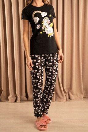 Hadise Unicorn Baskılı Pijama Takımı Siyah