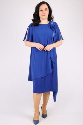 Günay Kadın Abiye Elbise Spl3081 Kısa-saks Mavi