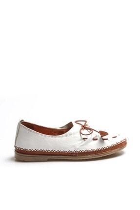 Fast Step Hakiki Deri Beyaz Kadın Babet Ayakkabı 942za704