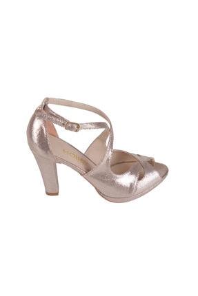 Hobby Altın Simli Platform Topuk Kadın Ayakkabı 104