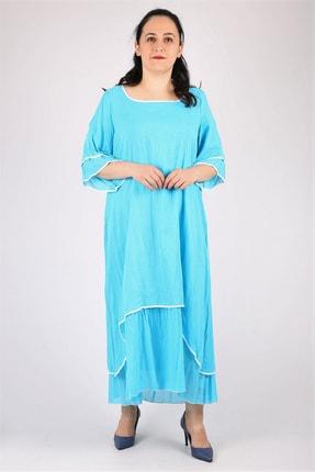 Günay Kadın Elbise Lm24471 Ilkbahar Yaz O Yaka Pamuk-turkuaz