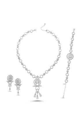 ZUK COLLECTİON Gümüş Zirkon Taşlı Kolye, Bileklik & Küpe Set