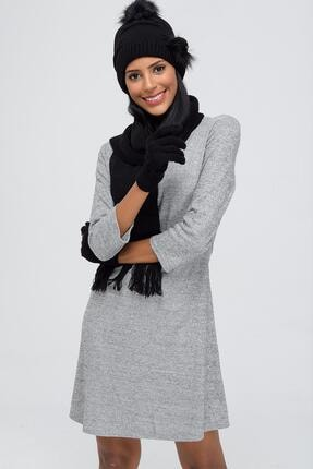 Forum Fashion Ponponlu Taşlı Kadın Atkı Bere Eldiven Takımı