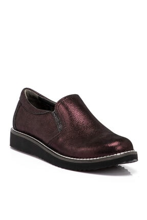 Tergan Bordo Deri Kadın Ayakkabı 65206n77