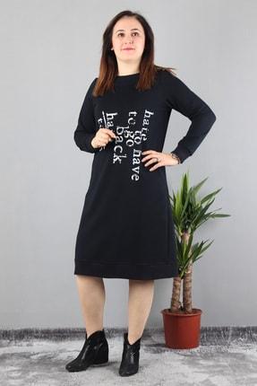 Günay Kadın Elbise Lm44120 Sonbahar Kış O Yaka Yazılı Spor-lacivert