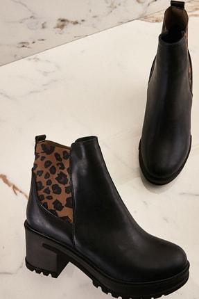 Bambi Siyah Leopar Kadın Bot & Bootie K0688017009