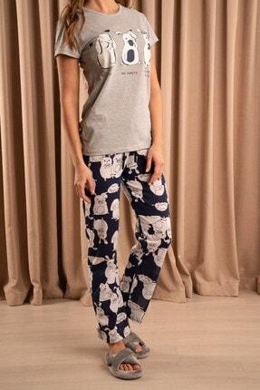 Hadise Shhh Baskılı Pijama Takım Gri