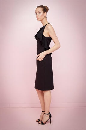 Journey Kadın Siyah Sıfır Yaka Kol Evi Volanlı Şifon Detaylı Kolsuz Kalem Elbise 18yelb085