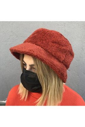 Köstebek Peluş Kiremit Renk Bucket Şapka