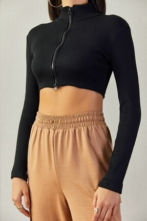 Boutiquen 1480 Çift Fermuarlı Siyah Crop Bluz-7g
