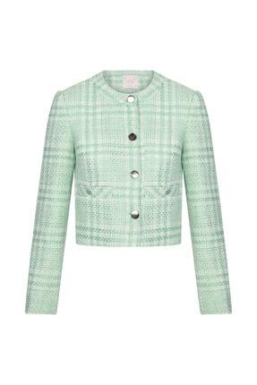 W Collection Kadın Mint Rengi Tüvit Ceket