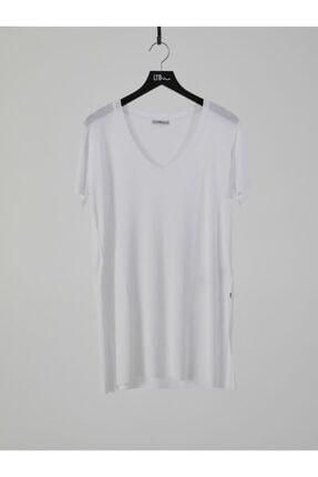 LTB Kadın  Beyaz Kısa Kol V Yaka T-Shirt 012218001961450000