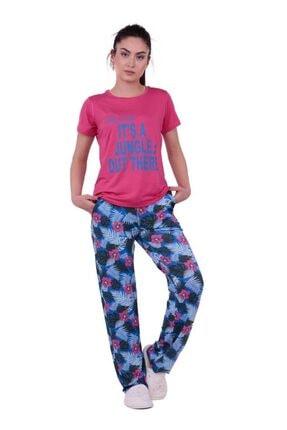 Jiber Çiçek Desenli Kadın Pijama Takımı 3623 | Pembe