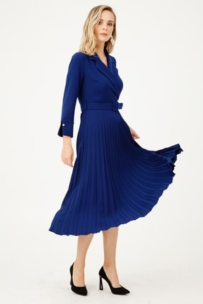 Moda İlgi Modailgi Mono Yaka Pilisoley Elbise Morcivert