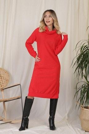 Zindi Kadın Balıkçı Yaka Elbise Kırmızı