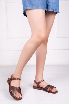 Deripabuc Hakiki Deri Kahve X6 Kadın Deri Sandalet Dp-0079