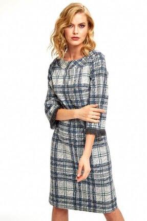 İkiler Kadın Gri Kayık Yaka Kolları Püskül Şeritli Ekose Elbise