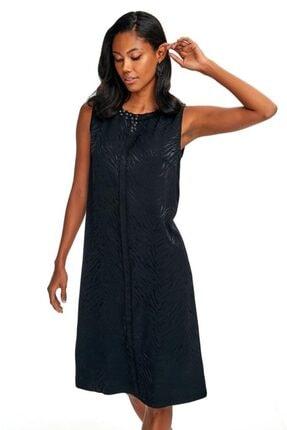İkiler Kadın Siyah Yakası Taşlı Kolsuz Abiye Elbise 020-4000