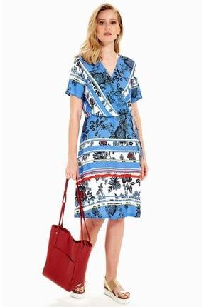 İkiler Kadın Lacivert Kruvaze Yakalı Kısa Kol Desenli Elbise 019-01-4007